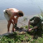 Alastair & Chris unhooking a catfish caught on R.Nile, Uganda.