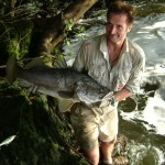 Alastair with Nile Perch caught in the Devil's Cauldron, Murchison Falls,R Nile.