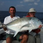 Patrice & Chris with a big Giant Trevally, Maldives.