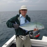 Chris with a bluefin trevally